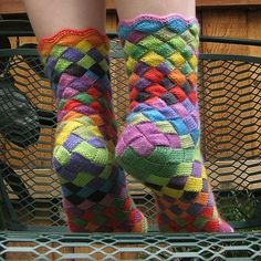 Rainbow Patch Knitted Socks Idea – DIY
