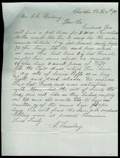 """Victorian letter ordering human hair from a hair dealer- February 5, 1873.    Paper size: 7.25""""x9.75"""", folded several times. With the envelope."""