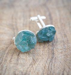 Raw Apatite Men Cufflinks OOAK rough mint blue apatite cuff links for him groomsmen gift rustic wedding jewelry organic design