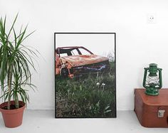 Abandoned Rusty Car Photograph Perfect Fathers Day Gift