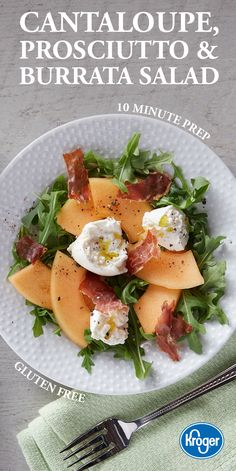 Gluten free and still full of goodies. This summer salad will satisfy everyone's taste buds with sweet cantaloupe, salty prosciutto and creamy burrata. It's all served on peppery arugula, the ultimate hearty green base for a backyard BBQ side.