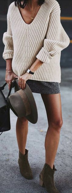 #winter #fashion / Cream V-neck Knit + Grey Mini Skirt + Green Suede Booties