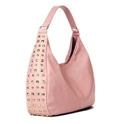 mark Total Studs Bag- Call it a tough cookie-this bag mixes pearlized-pink faux leather with edgy studs all along its sides. Shiny goldtone hardware and studs. 3 interior pockets: 1 zippered pocket at front, 2 slip pockets at back.  Shop online at tashina.avonrepresentative.com