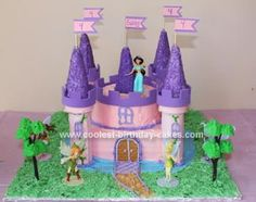 Homemade Princess Castle Birthday Cake: I got a lot of ideas from this website so thank you so much to everyone that puts their pictures of a princess castle birthday cake here!  This cake was