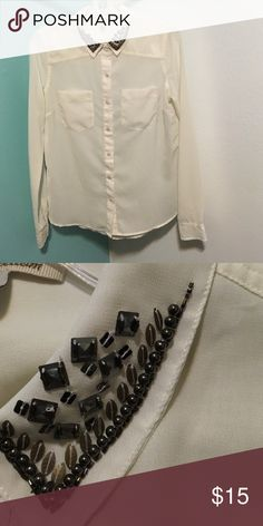 Blouse Button down cream blouse w/ jeweled collar true Freedom Tops Blouses