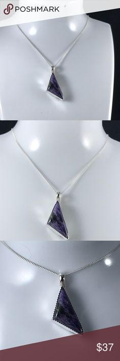 """Russian Purple Charoite Triangle Necklace B-2-44 My Mistake Your Gain 26 24x12mm Natural Purple Charoite Cabochon Set in a handmade, Hallmarked and signed .925 Bezel, which I over filed.  This piece has a slight flaw at the bottom which can not be seen when on. The 16"""" box chain is also .925 Sterling Silver. Handmade by HM Simon Jewelry Necklaces"""