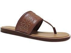 Coach Women's Bernice Thong Sandals Vegan Leather Saddle Brown Size 7 (B, M) #Coach #FlatThongSandals #CasualDress
