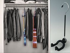 This hanger that lets you hang your guitar in a closet. Hidden Storage, Small Storage, Closet Storage, Guitar Storage, Guitar Display, Small Wardrobe, Wardrobe Rack, Guitar Wall Hanger, Creative Closets