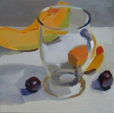 """Daily Paintworks - """"Clear Glass and Fruit"""" - Original Fine Art for Sale - © Robin Rosenthal"""