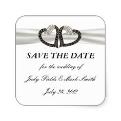 Black and White Diamond Heart Save The Date Stickers #weddings
