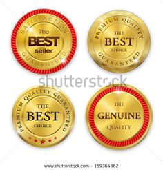 Set of blank round polished gold metal badges on white background. Best Seller. The Best Quality. Premium quality guaranteed. The Genuine Quality. Vector illustration.  - stock vector