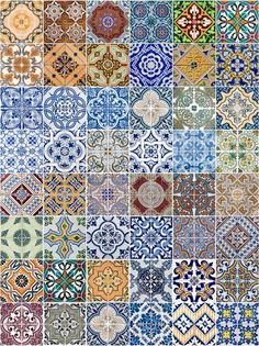 Stock image of 'Set of 48 ceramic tiles patterns from Portugal'