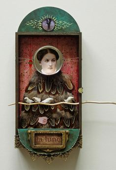 """Assemblage - """"Selene"""" by Julie Liger-Belair Found Object Art, Found Art, Mixed Media Collage, Collage Art, Collages, Shadow Box Art, Tin Art, Photocollage, Arte Popular"""