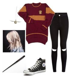 """Griffindor style ^^"" by viktoria-koldanova ❤ liked on Polyvore featuring moda, Converse, women's clothing, women, female, woman, misses e juniors"