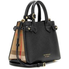 Burberry London England The Baby Banner Leather Shoulder Bag ($1,280) ❤ liked on Polyvore featuring bags, handbags, shoulder bags, burberry handbags, real leather purses, genuine leather handbags, burberry shoulder bag and shoulder hand bags