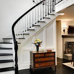 Staircase Black Floor Design, Pictures, Remodel, Decor and Ideas for my stairs and second floor Black And White Stairs, Black Railing, White Staircase, Staircase Design, Black White, White Walls, Grand Staircase, Stair Design, Curved Staircase