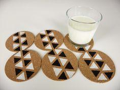 HilaTina: DIY: posavasos geométricos / geometric print cork coasters DIY