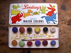 Vintage Lindsey's Watercolor Paint Box by CopperAndTin on Etsy, $32.00