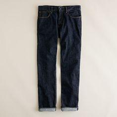 Slim-straight jean in resin crinkle wash