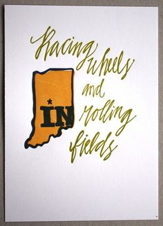 Indiana Letterpress Art Print State Series by 1canoe2 on Etsy