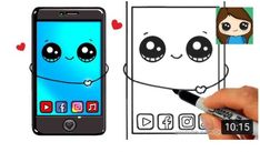 Cartoon Drawing Ideas How to Draw a Phone Cute and Easy - Drawing Cartoon Characters, Character Drawing, Cartoon Drawings, Easy Drawings, Doodle Drawings, Pencil Drawings, Cute Kawaii Drawings, Cute Animal Drawings, Simple Cartoon