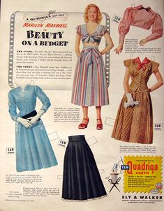 Vintage magazine ad...can cut out to make a paper dolls...I used to love paper dolls