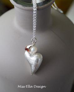 Halskette Herz Perle Granat 925 Silber von Edelsteinreich auf DaWanda.com