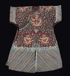 A silk dress red-ground embroidered with golden dragons, China, Qing Dynasty, late 19th century.