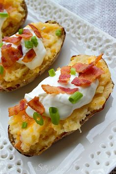 Loaded Twice Baked Potatoes, these are the best potatoes I've ever had! Great for a nice family get together, party or any day of the week! Easy, with step by step instructions, recipe from http://ThisSillyGirlsLife.com