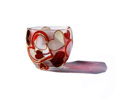 Hand Painted Glass Candle Holder Abstract modern