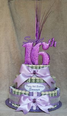 Money Cake, Sweet Birthday - Unique And Fun Way To Give A Sweet Treat You Don't Eat By Creativecreationsmc. Investigate More Products On Happy 16th Birthday, Sweet 16 Birthday, Birthday Parties, Money Birthday Cake, Money Cake, Money Creation, Creative Money Gifts, Gift Money, Money Bouquet