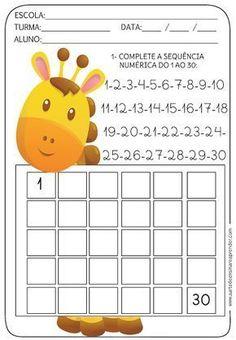 Atividade pronta - Sequência numérica do 1 ao 30 - A Arte de Ensinar e Aprender First Grade Worksheets, Kindergarten Math Worksheets, School Worksheets, Preschool Activities, Preschool Writing, Preschool Learning, Preschool Crafts, Math For Kids, Planer