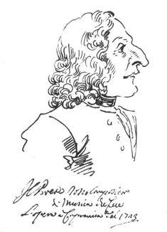 Antonio Vivaldi (1678-1741), caricature (1723), by Pier Leone Ghezzi (1674-1755).