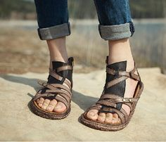 Handmade Women's Shoes Leather Sandals Leather Shoes by HerHis, $99.00