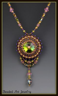 Beaded, Beadwork, Bead Embroidered, Crystal Necklace
