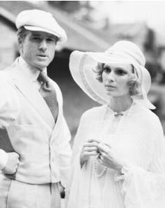 Robert Redford as 'Jay Gatsby' and Mia Farrow as 'Daisy Buchanan' - 1974 - The Great Gatsby - Costume design by Theoni V. Aldredge - Ralph Lauren, designed the men's costumes