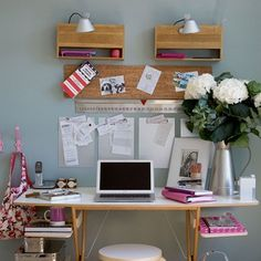Paperwork isn't the best job but it can be made far easier with good organisation. Invest in a stylish filing cabinet, get creative with a pinboard and hang hooks for easy book bag storage. Keep errant bills, receipts or invitations separated by pinning clipboards to the wall.