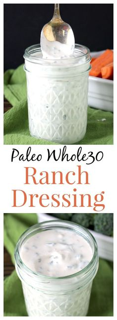 Paleo Whole30 Ranch- easy, quick, thick, creamy, and so delicious! You will never go back to store bought again! Gluten free, dairy free.