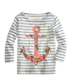 Girls' Stripe Floral Anchor Tee