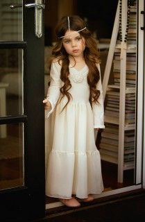 Love this ANGEL FROCK by DOLLCAKE with head chain jewelry for a flower girl!