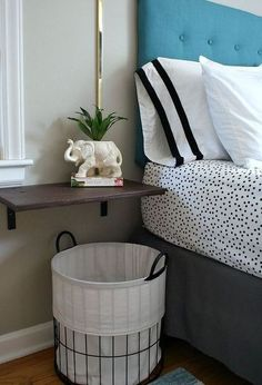 Learn how to turn a salvaged cabinet door into a wall mounted nightstand. (via Urban Acreage) Furniture Projects, Home Projects, Diy Furniture, Shelf Nightstand, Floating Nightstand, Nightstand Ideas, Home Bedroom, Bedroom Decor, Bedroom Ideas