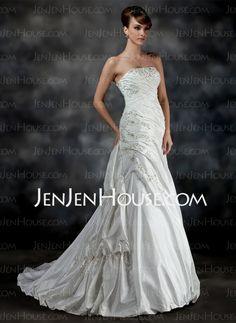 Wedding Dresses - $198.69 - A-Line/Princess Strapless Chapel Train Satin Wedding Dresses With Ruffle Beadwork (002017200) http://jenjenhouse.com/A-line-Princess-Strapless-Chapel-Train-Satin-Wedding-Dresses-With-Ruffle-Beadwork-002017200-g17200