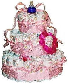 Instructions on how to make a Diaper Cake!  I followed the instructions today and it came out great!