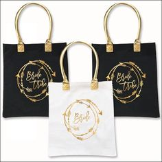 Bride Tribe Gold Handle Heavyweight Canvas Tote Bag