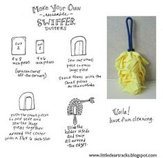 How to make your own swiffer dusters from Microfiber cloth (can find them in the car cleaning section of stores)