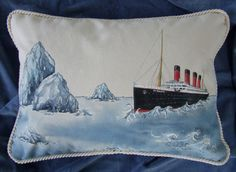 The Titanic  A Century since...  Always remembered.  Never forgotten....  Also @ Sally BeachHouse  Titanic Pillow Sham 18x26 Hand Detailed by jenniferrashleigh, $140.00