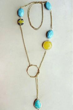 Turquoise and yellow necklace for women, this long lariat necklace with gold plated steel chain is a perfect summer jewelry gift for girlfriend or wife. Visit the shop to see the collection.