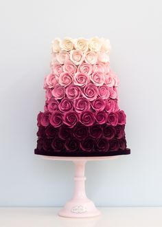 Ombre Rose Wedding Cake This is beautiful. And they got to have it for a wedding… Ombre Rose Wedding Cake This is beautiful. And they got to have it for a wedding cake but it's beautiful Gorgeous Cakes, Pretty Cakes, Cute Cakes, Amazing Cakes, Wedding Cake Roses, Rose Wedding, Floral Wedding, Wedding Colors, Easy Wedding Cakes