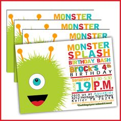 Monster pool party birthday invitations are a great way to introduce your monster theme pool party. Our monster splash pool party invitations are perfect for hot summer afternoon birthday celebrations. Kids will love the monster theme and everyone will love the refreshing pool party!
