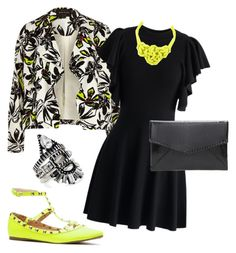 Pop of Color by sjjh on Polyvore featuring polyvore, fashion, style, Chicwish, River Island, BaubleBar, clutches, LBD, floralblazer, studdedflats and knotnecklace